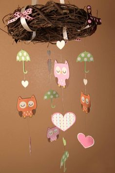 Mobile Owl Themed Beautiful Birthday or Baby by lovetiesbymeggin, $40.00 -  I would never buy this... but it would be cute to make!