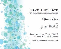 Save the Date. Printable Wedding Invitation Templates: Break Out The Blue Bubbly