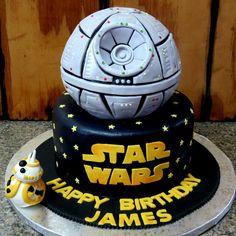 Star Wars Themed Birthday Cake. Chocolate 6' ball cake for deathstar.