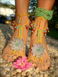 BOHO gypsy yellow BAREFOOT SANDALS filigree flowers slave