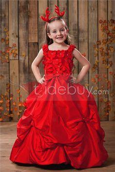 Amazing A-line Square Neckline Tea-Length Appliques Pleated Flower Girl Dress