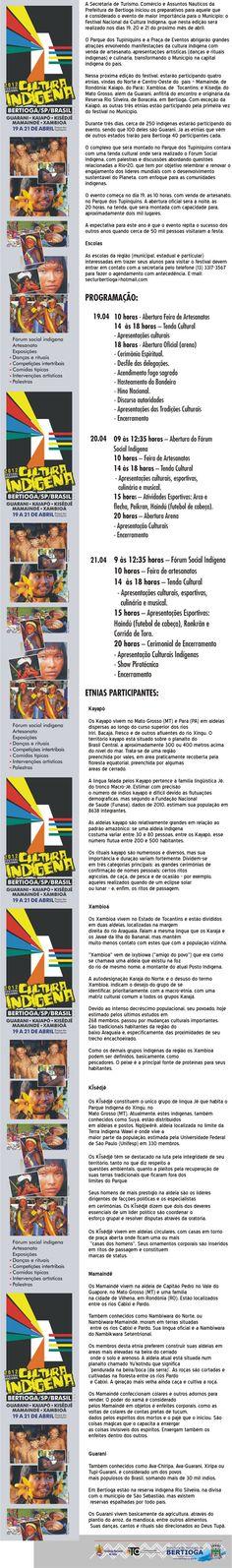 Programação do Festival Nacional da Cultura Indígena 2012 - de 19 a 21 de Abril em Bertioga