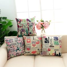 Paris New York Punk Rock Pop Art Cotton Blend Linen Throw Cushion Covers for Vintage Lovers 45x45cm  ❤ Resellers Welcome ❤ Dropshipping Available ❤ Great as Gifts.  View more at spreesy.com/cookies