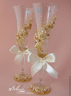 """Купить Свадебные бокалы """"Золото в бежевом"""" - свадебные аксессуары, свадебные бокалы, подарок на свадьбу"""