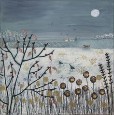'By the Light of the Moon' by Jo Grundy -  mixed media on a 12 x 12 inch box canvas