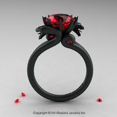 daenerys targaryen (Modern Dragon 14K Matte Black Gold 3.0 Ct Rubies Engagement Ring R601-14KMBGR)