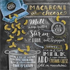 Lily & Val - Makkaroni und Käse Rezept (Englisch) Lily & Val macaroni and cheese poster at Posterlou Chocolate Cookie Recipes, Easy Cookie Recipes, Snack Recipes, Chalkboard Print, Chalkboard Designs, Chalkboard Doodles, Macaroni N Cheese Recipe, Cheese Recipes, Mac Cheese