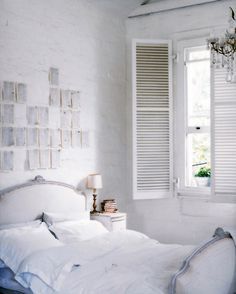 love the shutters and the pages on the wall