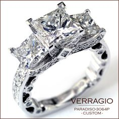 engagement ring - paradiso-3064p - custom made with five carats of diamonds.