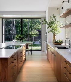 gorgeous natural woods and fresh greenery enhance this stunning modern kitchen design Mowery Marsh Architects Gorgeous kitchen decorating & design ideas, from cabinet choices to lighting, modern to classic, this gallery of kitchen images will inspire! Home Decor Kitchen, Kitchen Interior, Home Kitchens, Kitchen Ideas, Diy Kitchen, Modern Kitchens, Kitchen Layout, Kitchen Hacks, Contemporary Kitchens