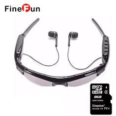 FineFun Original Sunglasses KL-339D Mini DVR DV Audio Video Recorder Camcorders Video Camara MP3 Earphones Smart Glasses TF Card #Affiliate