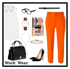 """work wear"" by vandaarh114 ❤ liked on Polyvore featuring STELLA McCARTNEY, Christian Louboutin, Miu Miu, Ray-Ban, Daniel Wellington, Michael Kors, Hoorsenbuhs, Gucci, contest and wear"