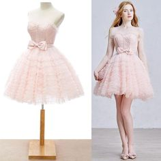 Pink Lace Knee Length Lolita Prom Special Occasion Party Tutu Dresses SKU-401031