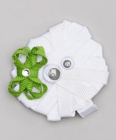 Look at this #zulilyfind! White & Green Bow Silly Mummy Hair Clip by Pink Poseys Bowtique #zulilyfinds