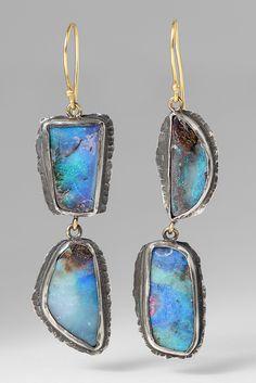 $1,355.00 | Margery Hirschey 22k, Oxidized Silver, & Boulder Opal Earrings | Santa Fe Dry Goods & Workshop #margeryhirschey #22kgold #gold #silver #oxidizedsilver #sterlingsilver #opal #boulderopal #handmade #jewelry #earrings #gems #semiprecious #stones #boho #santafe #santafedrygoods