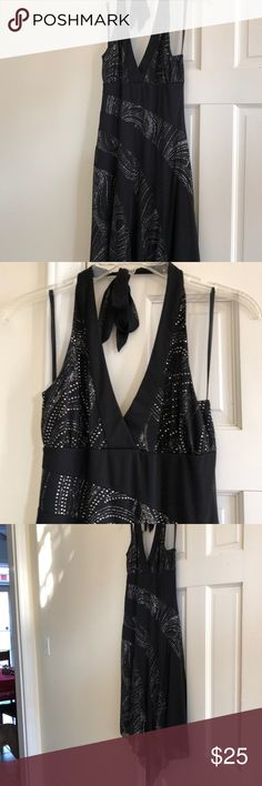 A. Byer Black Halter dress Glitter design front and back of dress, worn once the dress is form fitting at waist and flowing bottom. A great dress for a night out A. Byer Dresses Midi