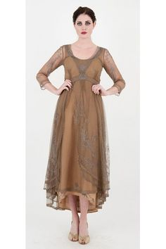 Nataya 40163 Downton Abbey Tea Party Gown Antique Silver - lovely designs, many available in plus sizes.  BEWARE THEIR RETURN POLICY - NATAYA does exchanges/merchandise credit ONLY.  Some styles available via Victorian Trading Company for lower prices.