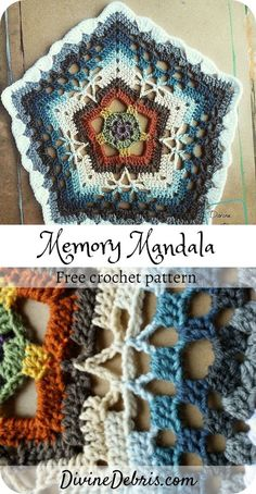 Crochet Memory Mandala [Free Crochet Pattern] Learn the fact (generic term) of how to crochet, at th Crochet Mandala Pattern, Granny Square Crochet Pattern, Crochet Blocks, Crochet Squares, Crochet Afghans, Crochet Blanket Patterns, Easy Crochet, Knitting Patterns, Unique Crochet Stitches