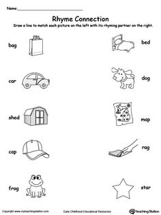 Connect Rhyming Pictures With Words Ending In AG, AR, ED or OG: Help your child identify words that rhyme with this rhyming pictures printable worksheet.	Learning the concept of rhyming words will enhance your child's phonics awareness.