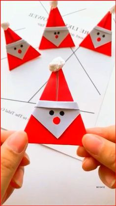 Paper Crafts Origami, Paper Crafts For Kids, Preschool Crafts, Diy Crafts, Diy Paper, Origami Cards, Oragami, Christmas Card Crafts, Christmas Art