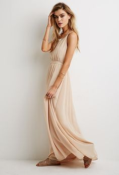 A simple beaded chiffon maxi dress in a nude color any girl can fall back on for that unexpected invite Nude Maxi Dresses, Chiffon Maxi Dress, Dress Skirt, Bridesmaid Dresses, Prom Dresses, Formal Dresses, Bridesmaids, Music Festival Fashion, Vestidos
