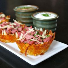 Corned Beef and Irish Cheddar Potato Nests | These are the perfect appetizer of the occasion.