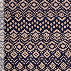 Peony Navy Squares Ethnic Cotton Spandex Blend Knit Fabric
