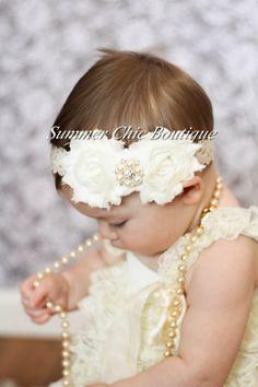 Baby Headband, Infant Headband, Newborn Headband - Shabby Chic Headband Ivory Headband on Lace on Etsy, $7.00