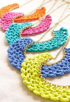 Color Pop Crocheted Bib Necklaces. $9.50, via Etsy.