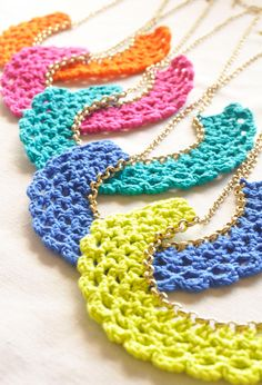 Color Pop Crocheted Bib Necklaces. $9.50, via Etsy.
