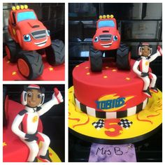 Blaze and the Monster Machines Cake. Entirely edible, entirely handcrafted from Mrs B's Bespoke Cakes kitchen, Saltaire, Shipley England 2016 https://mrs-bs.co.uk/ https://www.facebook.com/mrsbcakeologist/