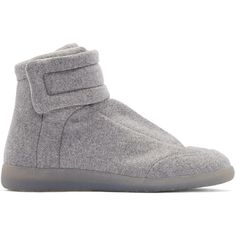 Maison Margiela Grey Felt Future High-Top Sneakers ($745) ❤ liked on Polyvore featuring men's fashion, men's shoes, men's sneakers, maison margiela mens shoes, mens velcro strap sneakers, mens velcro shoes, mens lace up shoes and mens high top velcro shoes