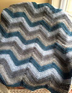 chevron zig zag ripple baby toddler blanket afghan wrap crochet knit wheelchair stripes VANNA WHITE yarn adult lap robe new blue grey new by JDCrochetCreations on Etsy