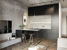 small room design ideas for men Small Apartment Interior, Small Apartment Kitchen, Small Apartment Design, Small Room Design, Cozy Apartment, Small Kitchens, Small Bathrooms, Apartment Living, Living Rooms