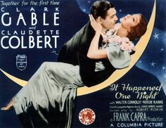 """It Happened One Night"" is a 1934 classic romantic comedy directed by Frank Capra and starring Clark Gable and Claudette Colbert. The film won all five Old Movies, Vintage Movies, Great Movies, Vintage Posters, Vintage Glam, Vintage Labels, Vintage Style, Movie Poster Art, Film Posters"