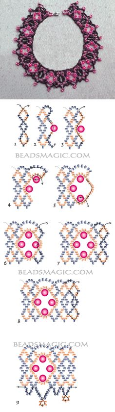 Free pattern for beautiful beaded necklace Delhi11/0-10/0-4 mm cseh csiszolt