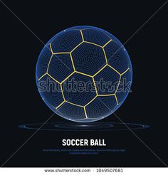Digital hologram of soccer ball with hud elements. Futuristic football. Wireframe mesh of soccer ball with yellow lines. High tech background on sports. Data Visualization. Vector illustration.