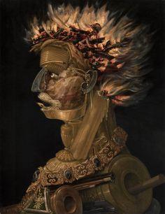 ARCIMBOLDO, Giuseppe:  Fire,  1566,  Oil on wood, 67 x 51 cm,  Kunsthistorisches Museum, Vienna