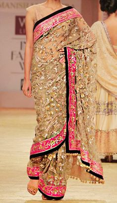 Oh, definitely Bollywood style! Cream, pink and a tinge of black. Of course crystals! --- I need a party I can wear a Sari to Saris, Indian Attire, Indian Wear, India Fashion, Asian Fashion, Indian Dresses, Indian Outfits, Tela Hindu, Lehenga Choli
