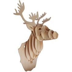 Woodcraft Deer Head Construction Kit Size completed model measures 38cm x 20cm x 17cm Simply press out the pieces and slot together Easy to follow numbering system No tools or glue required All pieces come pre-cut Finished model can be painted or varnished Recommended for ages 7 and up