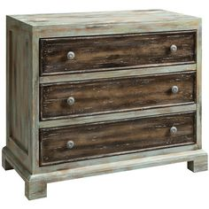 Distressed wood chest.    Product: Chest    Construction Material: Wood    Color: Whitewash and w...