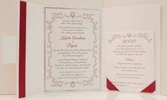 Burgundy Wedding Invitation Silver Foil Wedding by KiwiInvitations