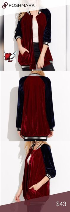 COMING SOON!  Ranglan Sleeved Velvet Bomber Some stretch single breasted standard collar Polyester Jackets & Coats Jean Jackets