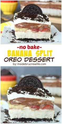This no bake banana cheesecake is layered with bananas, strawberries, and chocolate for a delicious banana split treat.