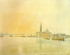 Joseph Mallord William Turner, 'Venice: San Giorgio Maggiore - Early Morning' 1819 (J. Turner: Sketchbooks, Drawings and Watercolours) Famous Watercolor Artists, Watercolor Landscape Paintings, Famous Artists, Watercolor Images, Watercolor Trees, Watercolor Portraits, Abstract Paintings, Oil Paintings, Joseph Mallord William Turner