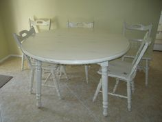 Shabby Chic Dining Table and Chairs by ladyvalorie on Etsy, $500.00