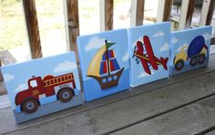 Set of 4 Transportation Boys Bedroom 8x10 Stretched Canvases Kids Playroom Baby Nursery CANVAS Bedroom Wall Art. $80.00, via Etsy.