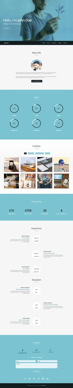 Web Templates 'Verum' is a FREE One Page HTML template with a resume-style layout. This responsive template hosts all the typical CV requirements like biography, skills (in infographics), work timeline, stats, contact form and even includes a bonus Lightbox-style portfolio section. A basic template but a nice freebie by TemplateWire to help get you online quickly in One Page.