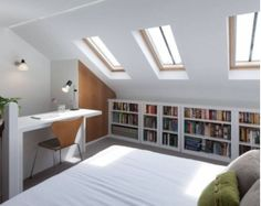 Attic Bedroom Combined with Home Office