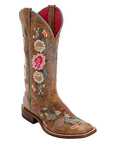Anderson Bean Macie Bean Women's Antiqued Honey Brown w/ Rose Garden Embroidery Square Toe Boots